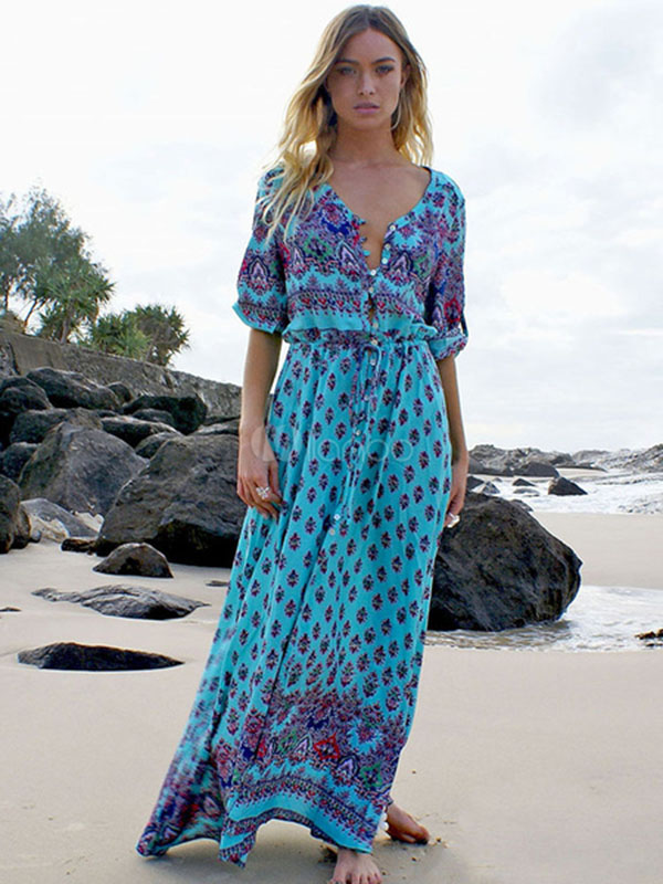 Bohemian print summer dress women Short sleeve ruffled