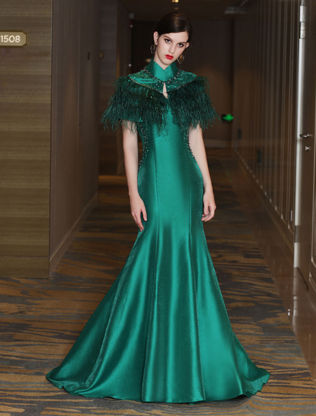 Mermaid Evening Dresses Luxury Satin Dark Green High Collar Beading  Feathers Tiered Formal Dresses With Train