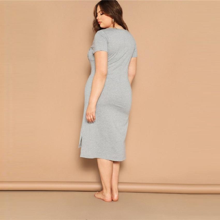 Plus Size Dot Bow Print Slit Hem Marled Night Dresses
