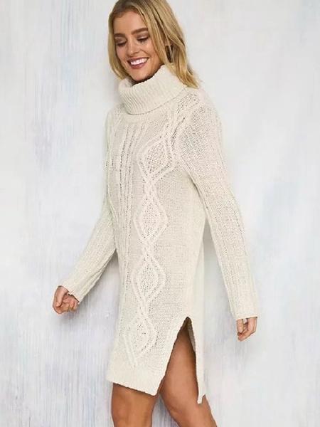 Turtleneck Sweater Dress White Chunky Cable Knit Long Sleeve Split Midi Dress Td Mercado