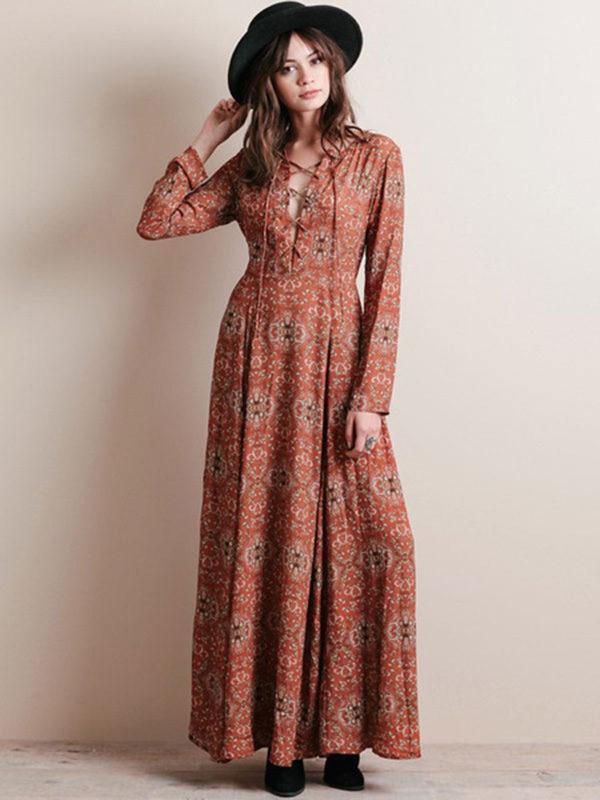Vintage Floral Print Chiffon Maxi Dress Long Sleeve Plus Size Cross Front  Casual Long Dress