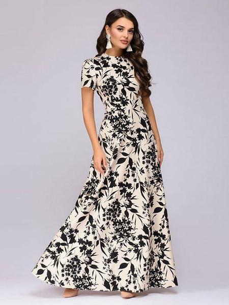 Women Maxi Dress Short Sleeve Printed
