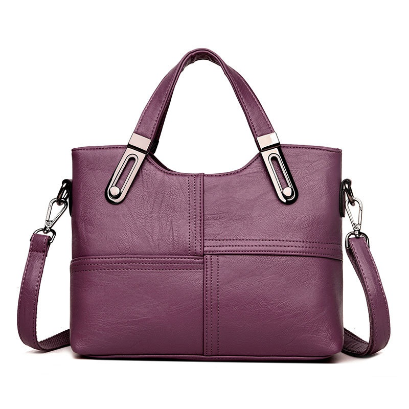 Women Sewing Handbags Soft Leather Leisure Large Capacity Cross Body Bag